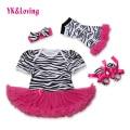 Fashion New Baby Girl Clothes Newborn Romper Dress Zebra Cotton Dresses 4Pcs Infant  Girls Princess Clothing Sets 2017 Summer