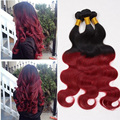 Ombre Brazilian Hair Extensions 3pcs Two Tone 1B/Red Brazilian Virgin Hair Body Wave Ombre Red Human Hair Weaves Bundles R01