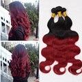 Ombre extensões de cabelo brasileiros 3 pcs dois tons 1B / Red brasileiro Virgin cabelo onda do corpo Ombre Red cabelo humano tece Bundles R01