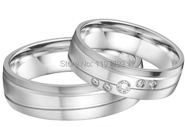 Europe western designer silver color cheap titanium wedding anniversary rings gift sets