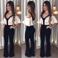 Elegant Off Shoulder Summer Romper Jumpsuit Woman 2018 Party Wide Leg Bodysuit Woman One Piece Pants V Neck One Piece Playsuits