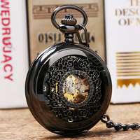 Black Retro Pattern Hollow Case Mechanical Hand Wind Skeleton Steampunk Pocket Watch With Chain Gift For
