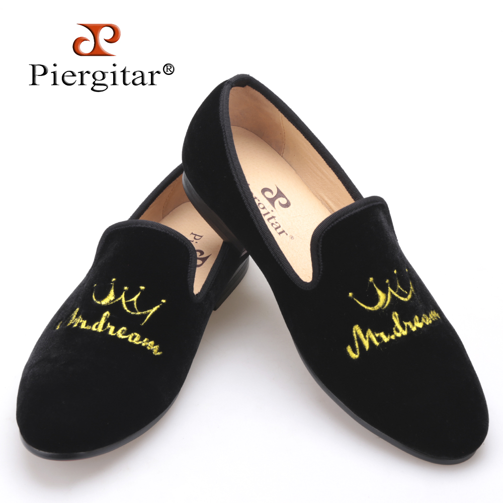 New style crown embroidery handmade men velvet shoes men loafers wedding and party shoes men flats