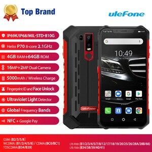 """Image 2 - Ulefone鎧6E IP68防水6.2 """"スマートフォンのandroid 9.0エリオP70 4ギガバイト64ギガバイト顔id nfcワイヤレス充電器携帯電話"""