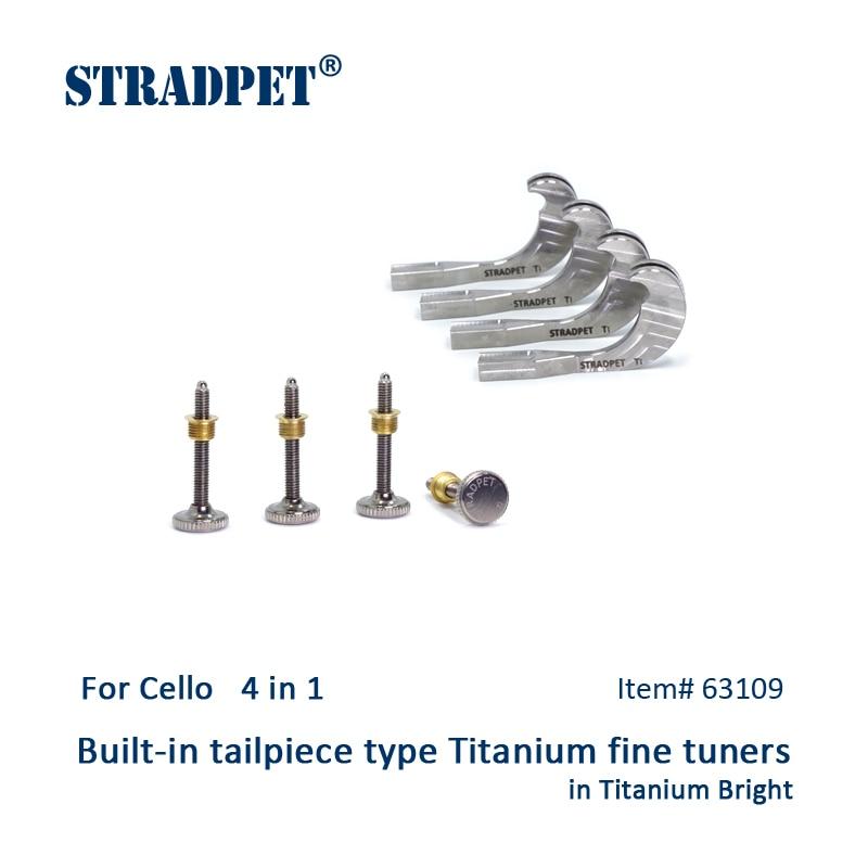 STRADPET Built in titanium fine tuners set 4 in 1 for Cello in titanium bright and