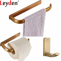 Leyden Antique Brass 3pcs Bathroom Accessories Set Wall Mounted Towel Ring Toilet Paper Holder Robe Hook Clothes Towel Hook
