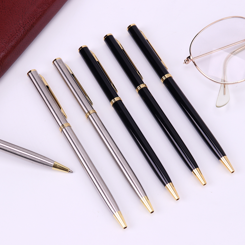 1PC Blue Refill Ball Pens Metal Rotating Pocket Size Pen Ballpoint Pen School Gift Student Stationery Office Supplies