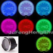 2 52mm Colorful Water Temperature Gauge 12V Car Celsius LED Light inches instrument Tint Lens Auto Digital Temp Meter