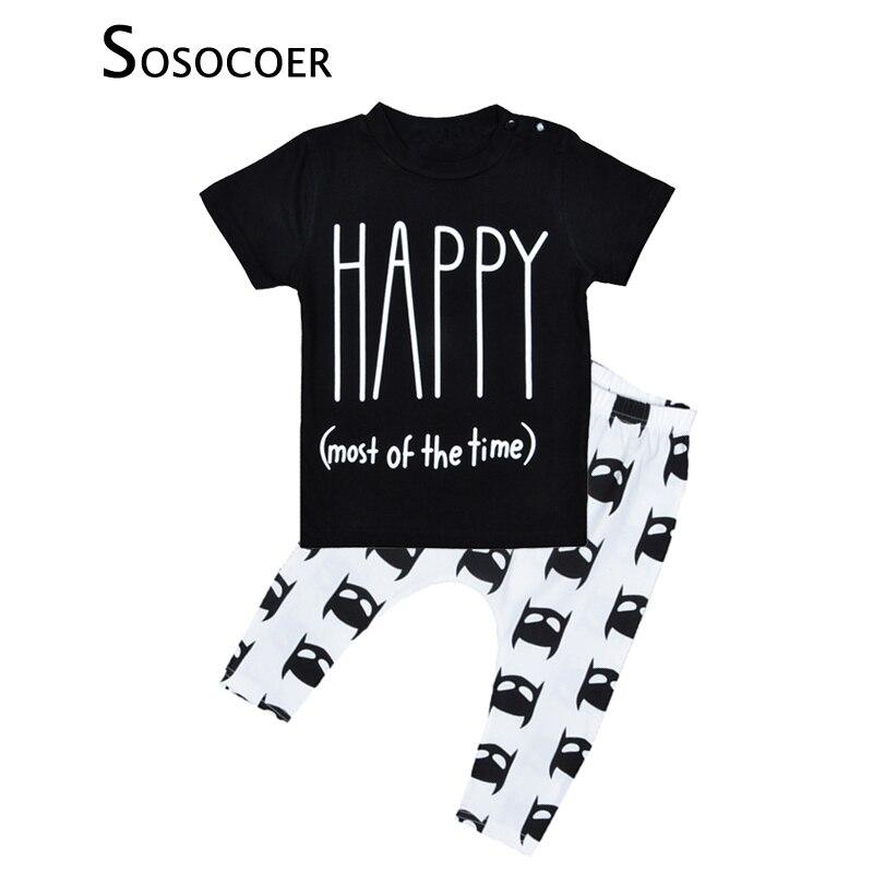 Sosocoer Happy Одежда для мальчиков и девочек комплект с принтом букв футболка + штаны с рисунком 2 шт. Наборы для ухода за кожей Летний стиль 2017 г. д...
