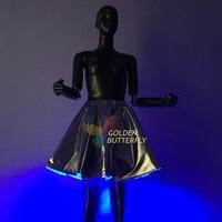 Sexy Girls Light Up LED Luminous Tutu Skirts Stage Dance Tutu Short Mini Skirt Dance Wear Evening Party Wrinkle Layered Skirts