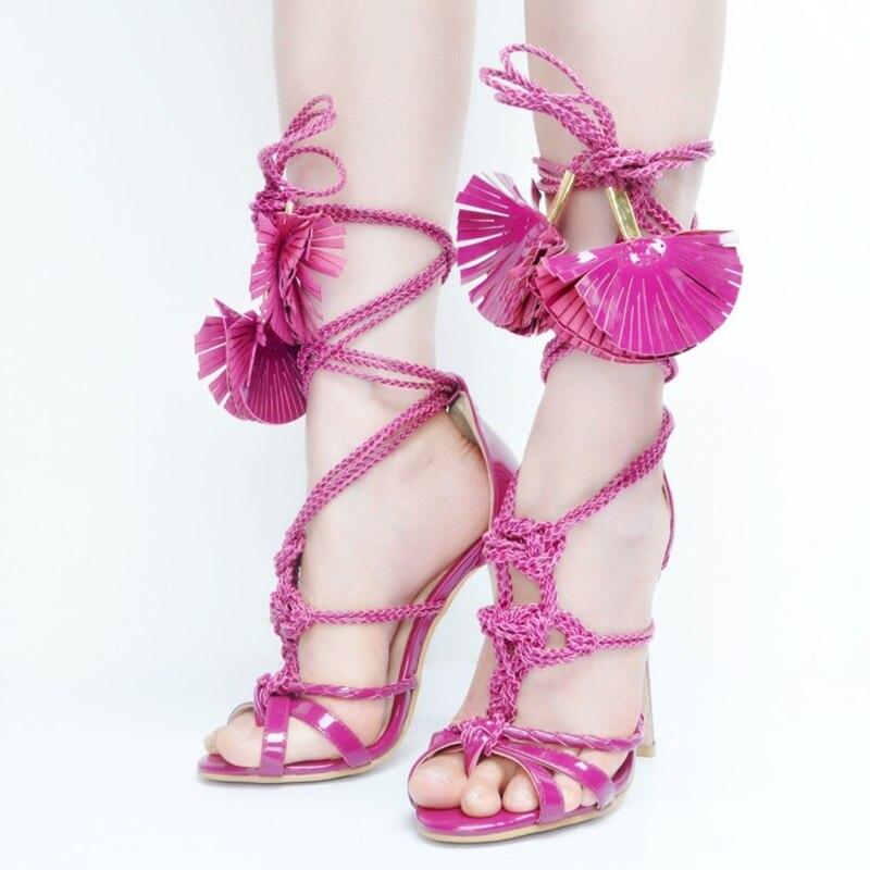 Designer européen mode gland en cuir verni mince à talons hauts sandales femmes Rose été violet robe de soirée chaussures - 2