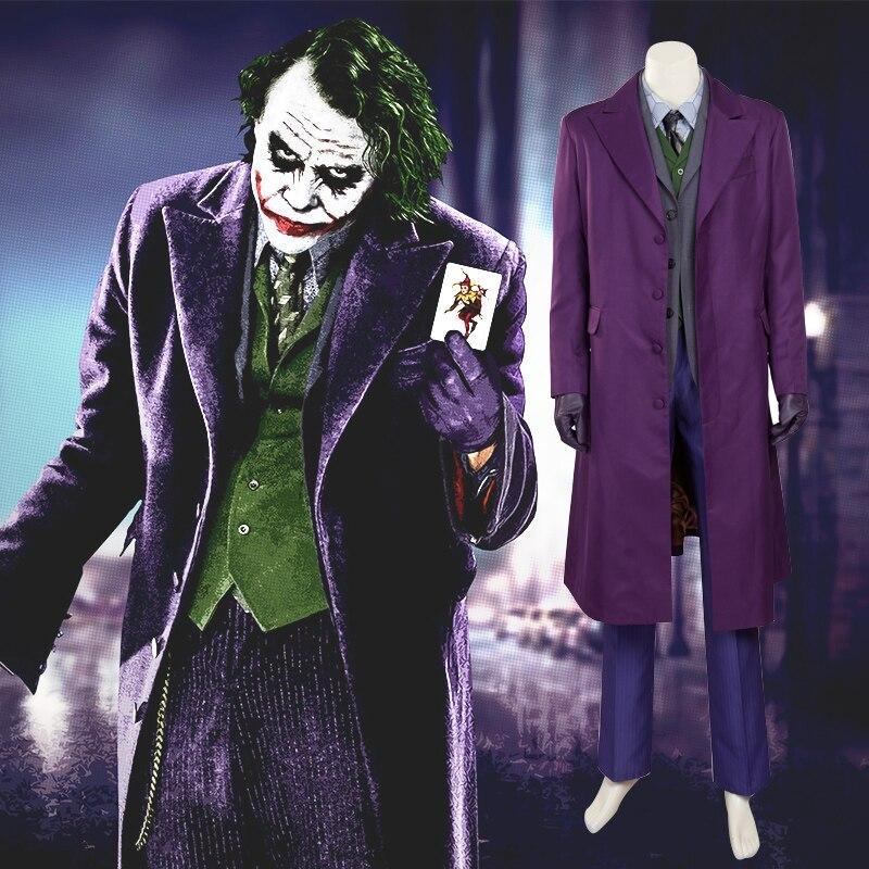 Новое поступление Бэтмен Темный рыцарь джокер костюм наряды Классический Хэллоуин Косплэй герой фильма Косплэй таможенные индивидуальные...