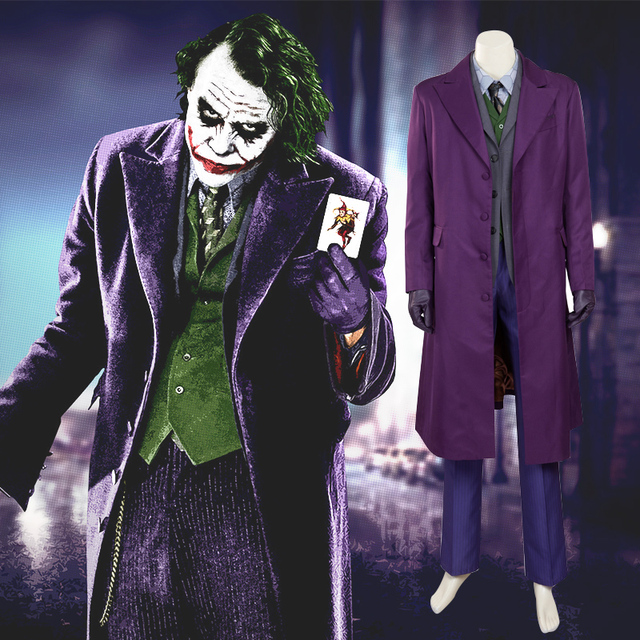 newest batman dark knight joker suit outfits classic halloween cosplay movie hero cosplay custome customized size
