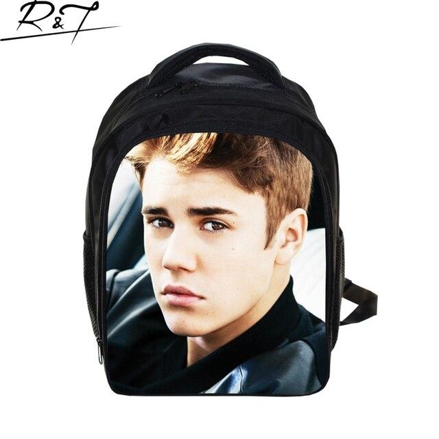 Justin Bieber School Bags for Teenagers Boys 13inch Children Students Book Bags Kids Kindergarten Daily 3D Printing Mochilas