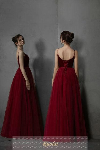 Simple Long Prom Dresses 2019 Deep V-Neck A-Line Formal Party Gowns Burgundy Evening Dress vestidos largos de robe de soiree 2