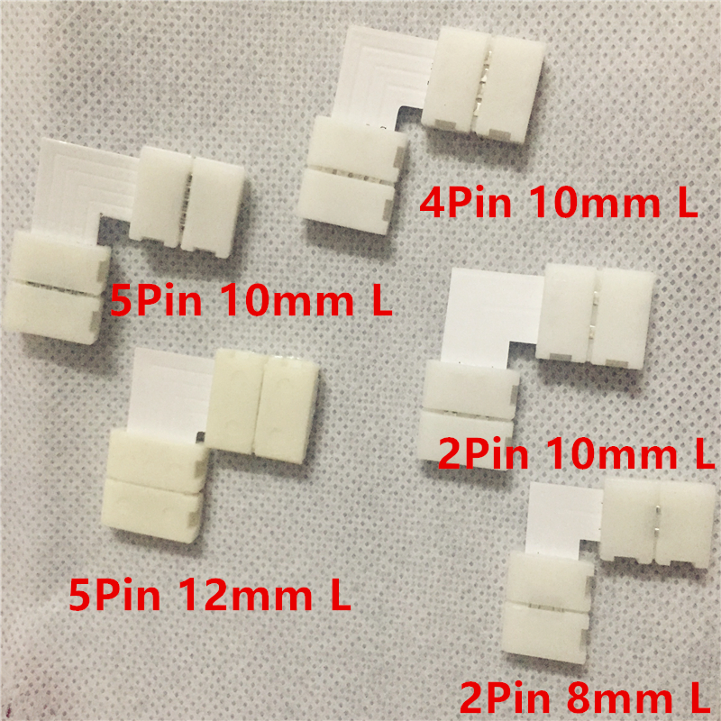 10pcs/lot 2pin 4pin 5pin 8mm 10mm 12mm L Shape LED Connector For connecting corner right angle 3528 5050 RGB rgbw LED Strip 5pcs lot 10mm 5pin rgbw l type x type t shape no soldering connector for 5050 rgbw rgbww led strip 5pin rgbw connector