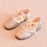 Весенняя детская обувь для девочек с кружевным бантом Мэри Джейн на плоской подошве принцесса розовый милое кожаное платье обувь для малыш...