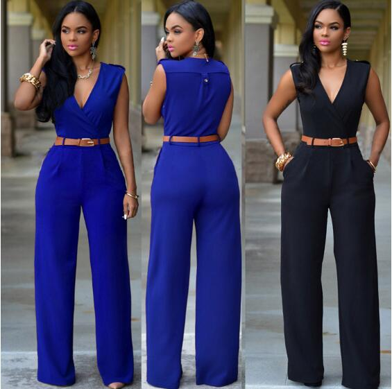 Women   Jumpsuit   Long Pants Rompers Sleeveless V-neck 2019 Summer Wide Leg Pants Jumpsuirt With Belt Sexy Club Party Overalls