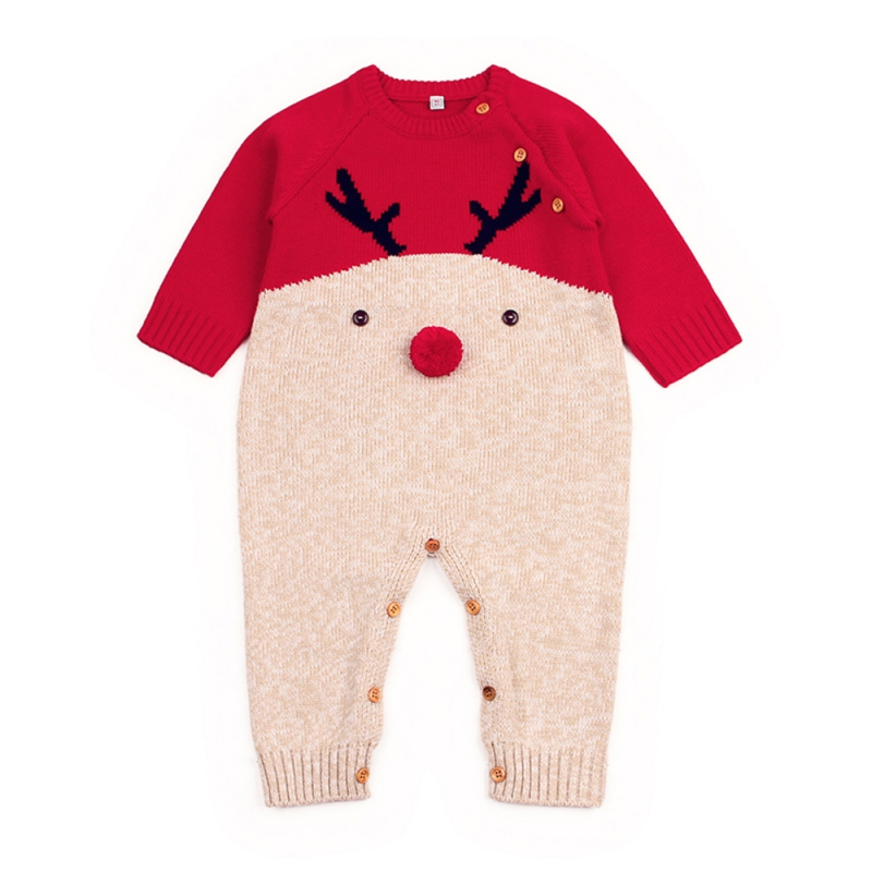 Solid Red Boys Girls Rompers Long Sleeve Christmas Deer Knitting Romper Newborn Baby Overalls Pajamas Costume Baby Clothes cotton baby rompers set newborn clothes baby clothing boys girls cartoon jumpsuits long sleeve overalls coveralls autumn winter