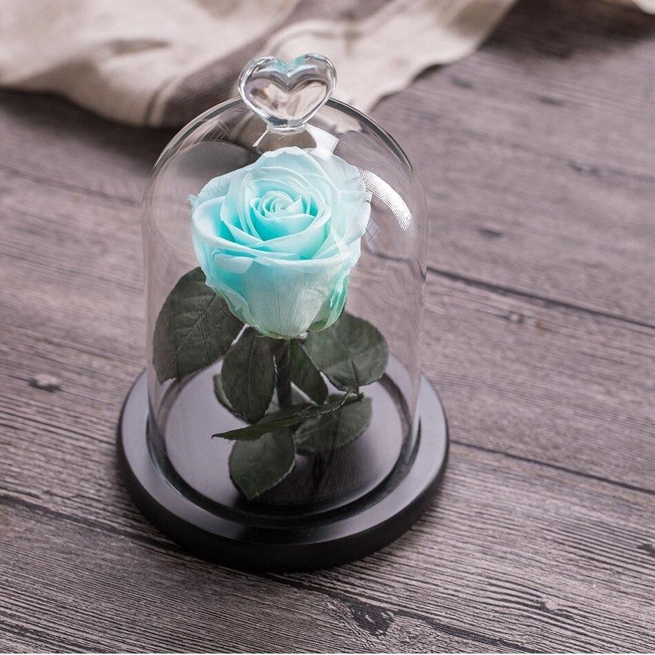 Вечный цветок розы с любовью стекло черный чехол искусственный цветок подарок на год Валентина Рождество Gif хорошее украшение дома - Цвет: Sky Blue