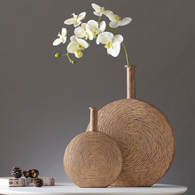 modern creative resin Flat flowers vase Hotel living room statue home decor crafts decoration office figurines