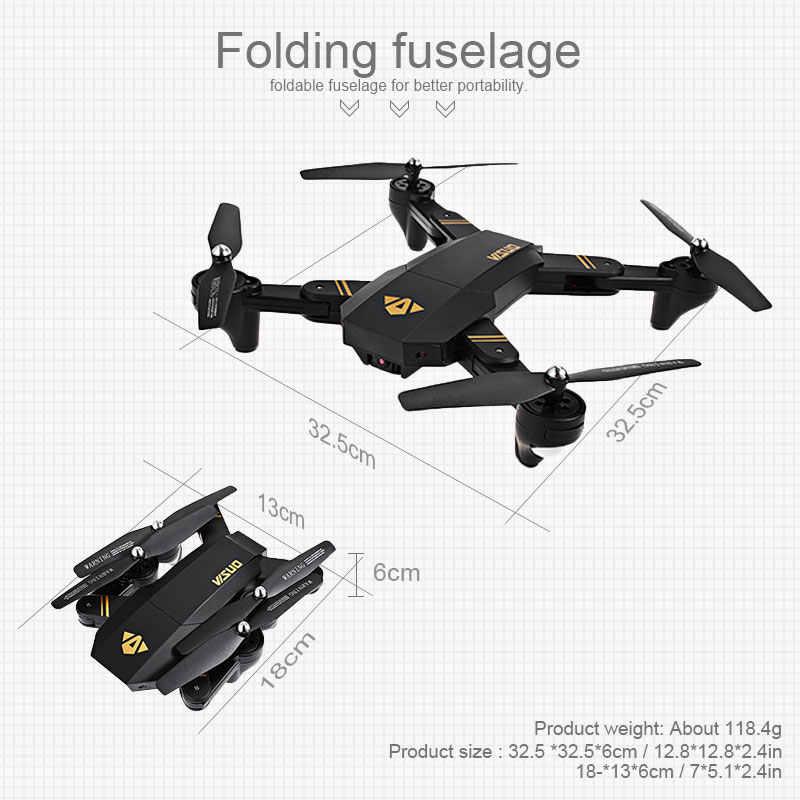 Visuo-Mini Dron plegable con Wifi y cámara de 2MP. XS809HW, Drone cuadricóptero con cámara de 2MP, mantenimiento de altitud, Vs JJRC H47 E58