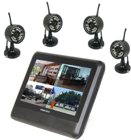 1V4 Digital Signal Camera 7 Inch 4CH Wireless Baby Monitor Support 4 Picture Display Real Time Monitoring