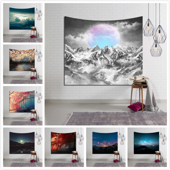 Candle Snow Mountain Scenery Hanging Wall Tapestry Hippie Retro Yoga Beach Towel Home Decor Rug Blanket 100*150/150x130cm,4 size