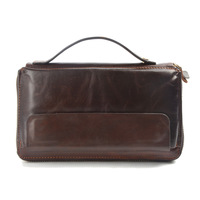 Vintage Genuine Leather Wallet High Quality Large Capacity Men S ID Card Wallets With Phone Bag