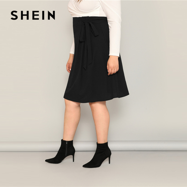 SHEIN Plus Size Black High Waist Tie Side Skirt 2019 Women Spring Knee Length Solid Casual A Line Big Size Skirts With Belt 1