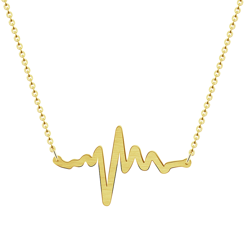 Dainty Heartbeat Pendants & Necklaces For Women's Fashion Jewelry Stainless Steel Chain In Rose Gold Necklace Charm Bijoux Femme