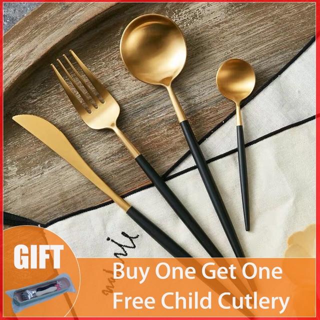 304 de acero inoxidable Occidental cubiertos Noble tenedor cuchillo postre vajilla de cocina vajilla de oro negro
