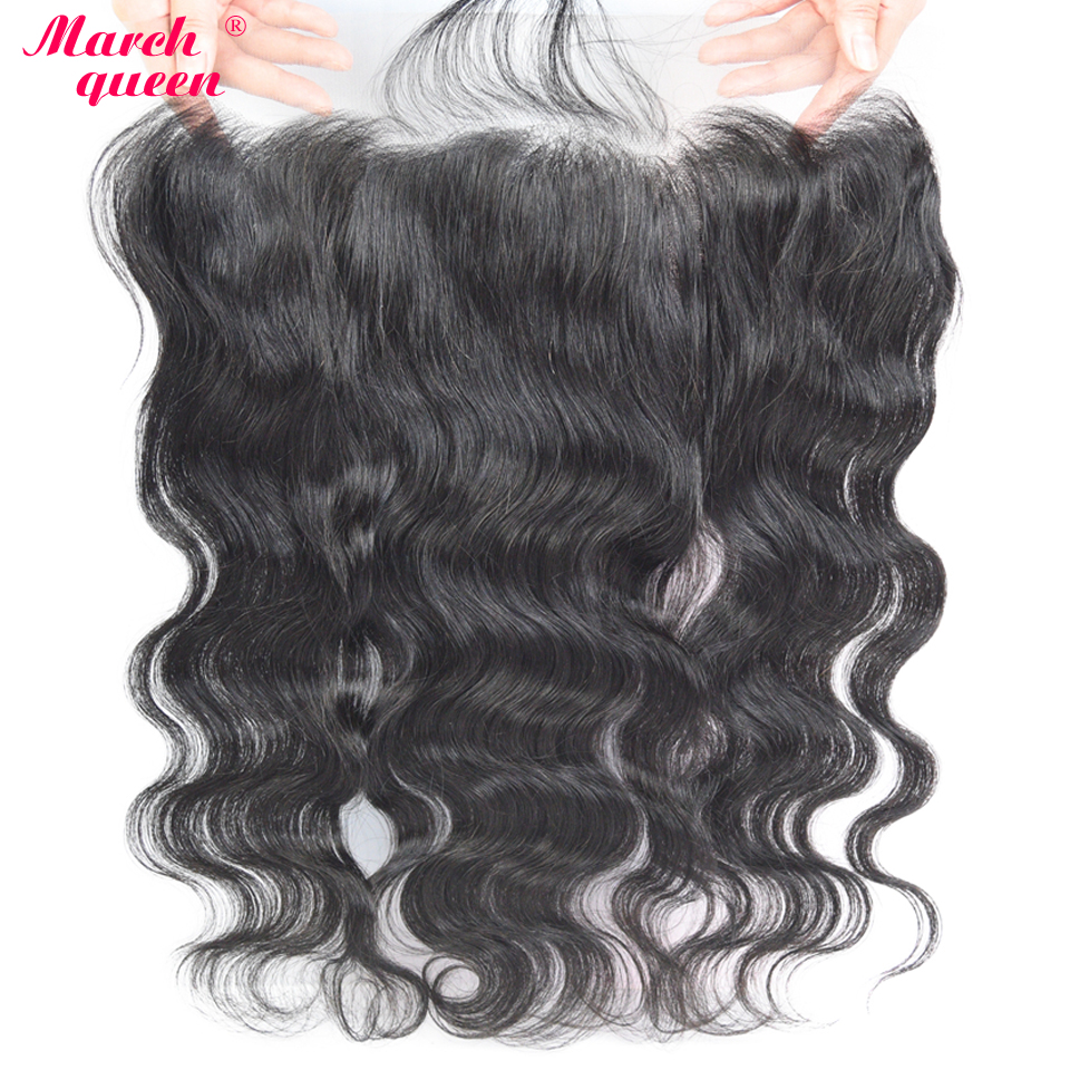March Queen Human Hair 13X6 Lace Frontal Closure Raw Indian Body Wave Ear To Ear Closures With Baby Hair Pre Plucked Hair Line