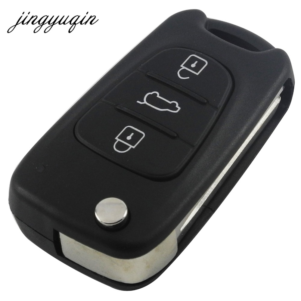 jingyuqin Car Remote Flip Key Shell 3 Button For Hyundai Avante I30 IX35 Kia K2 K5 Sorento Sportage Folding Key Case Blank Cover maizhi 3 button flip folding car key shell for hyundai avante i30 ix35 kia k2 k5 sorento sportage key cover case styling