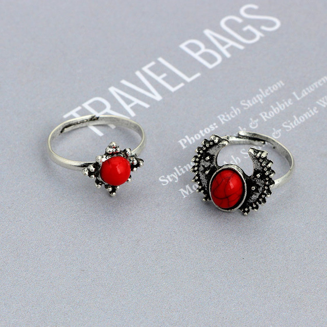 14 Pcs/Set Fashion Bohemia Women Beach Rings Vintage Moon Sun Red Big Stone Ladies Girls Knuckle Ring For Gifts KQS8