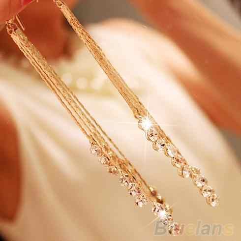 Women Rhinestone Party Cocktail Drop Chain Tassels Dangle Hook Linear Earrings 1P32