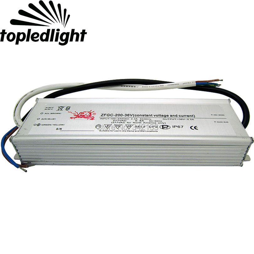 IP67 Waterproof 200W High Power Led Driver 36V 5.5A Constant Current Portable Lighting Transformers INPUT 100-240VAC 2.3A 200w led driver dc36v 6 0a high power led driver for flood light street light ip65 constant current drive power supply