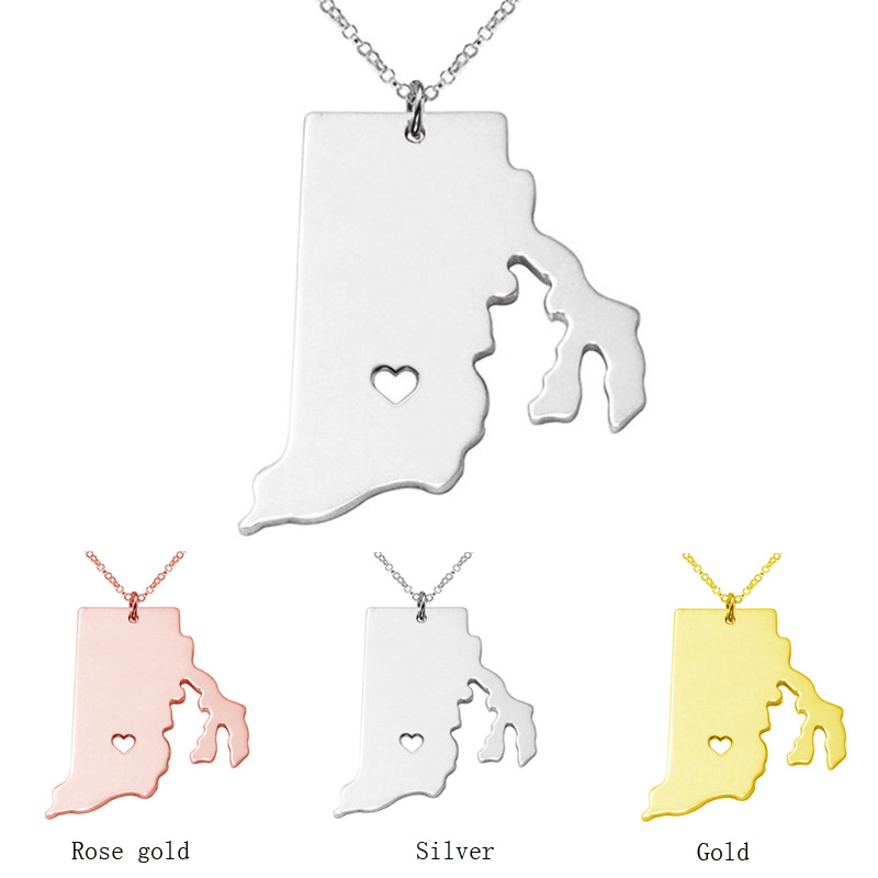 3 color Rhode Island State map Necklace charm pendant Necklaces With A Heart statement Necklace jewelry CN26
