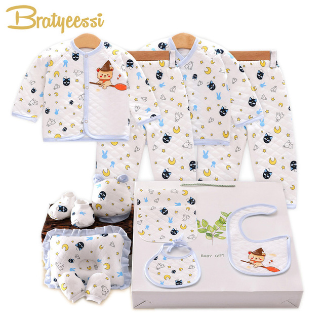 14Pcs/Set Baby Clothing Set New Born Gift Cartoon Print Newborn Boy Set Winter Soft Baby Girl Clothes OPP Bag Packaged