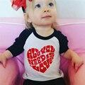 Lindo Unisex Bebé Niñas niños Camisetas de Manga Larga Del Corazón Del Amor camisetas bebés y niños pequeños niños niño lindo casual cotton tee pullover 2-7 t