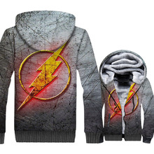 The Flash Men Clothes 2018 Fashion Anime Mens Hoodies Streetwear Sweatshirt Hip Hop Super Hero Winter Thick Coat Male Funny Top