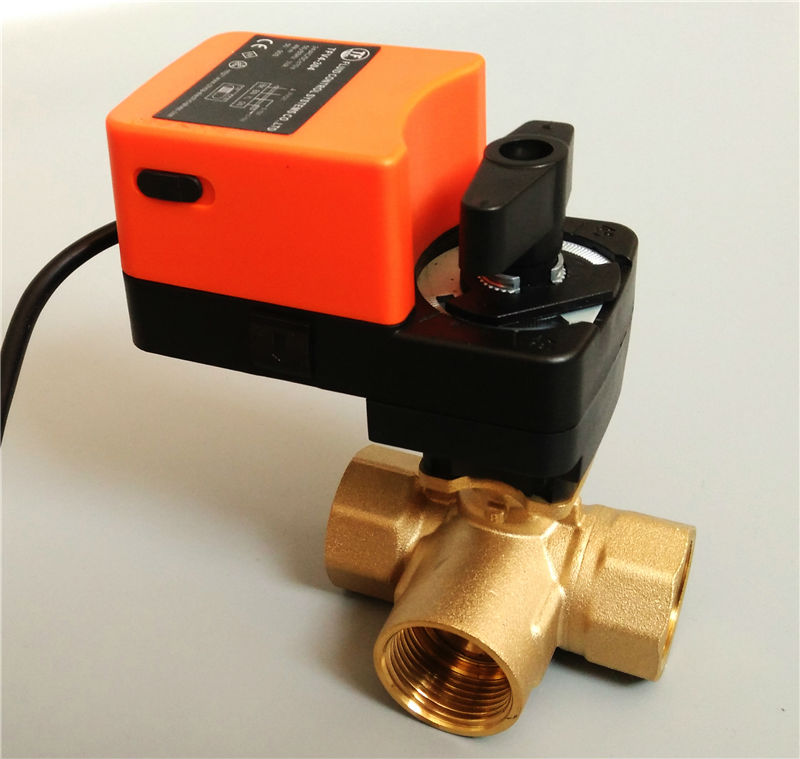 1'' Electric proprotion valve 3 way T port, AC/DC24V Electric regulating valve 0-10V modulating for flow regulation or on/off 2 proprotion modulating valve 0 10v ac dc24v 4 20ma brass valve for flow regulation or on off control water treatment hvac