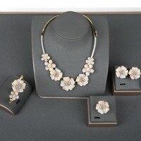 Blucome три тона цветок Дубай индийские Свадебные украшения наборы медь полный Циркон Свадебное нигерийское ожерелье серьги браслет кольцо на