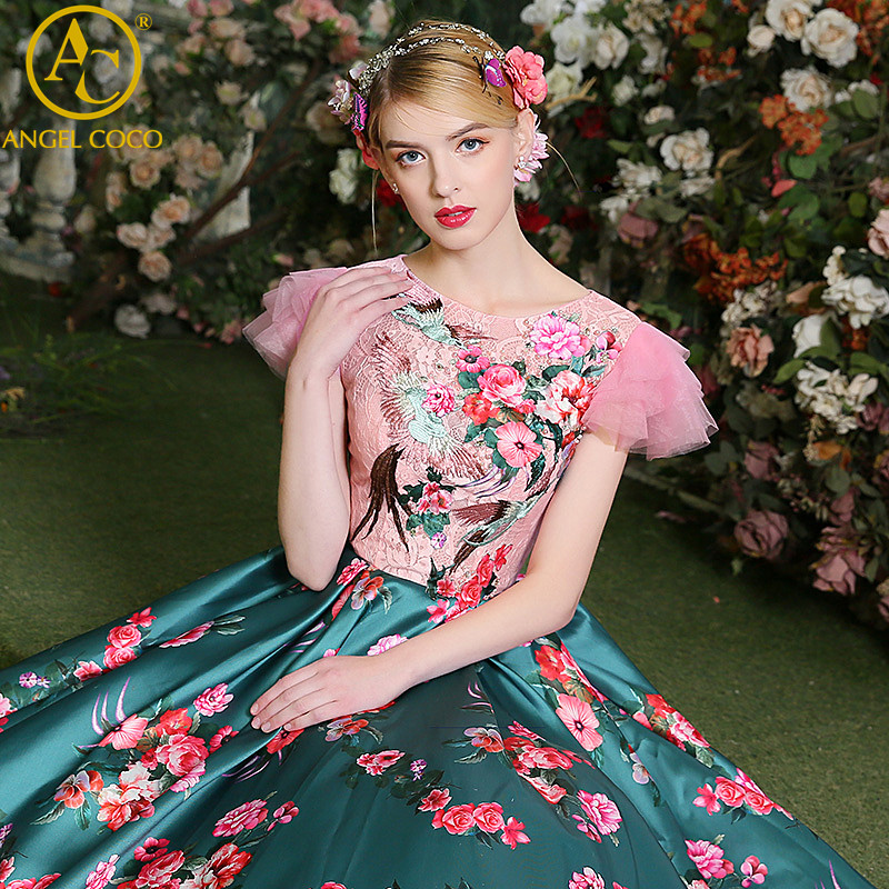 Beautiful Prom Dresses 2017 Elegant Printing Flowers Floor Length Satin  Long Moroccan Clothing Dubai Abaya Gala Gowns Feestjurke. without Dress Girls Images Promotion Shop for Promotional without