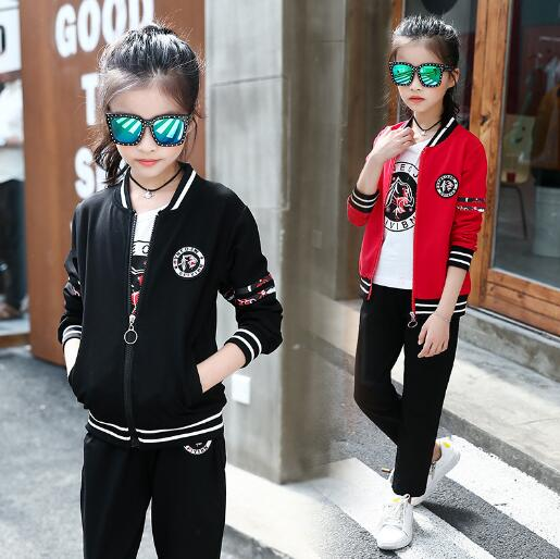 Children Girls Tracksuits Kids Sports Suits Spring Clothes Long Sleeve Coat+T-shirt +Pants 3pcs Sets for girl Clothing 6 8 12 Y free shipping children clothing spring girl three dimensional embroidery 100% cotton suit long sleeve t shirt pants