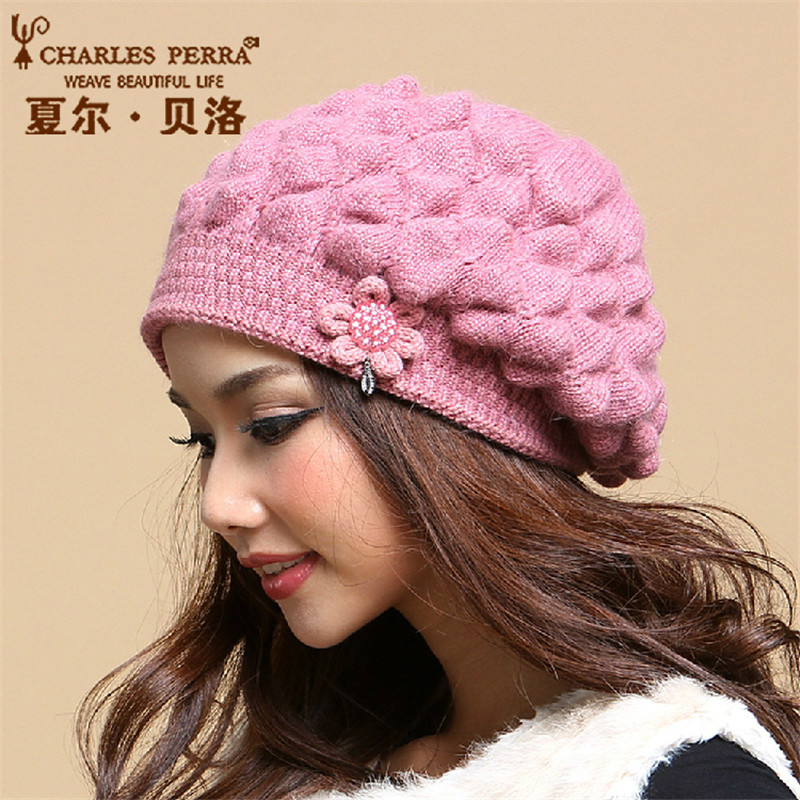 Charles Perra Women Winter Hats Caps Thermal Double Layer Warm Wool Knitted Hat Casual Fashion Elegant Beanies Skullies 2851 2016 new beautiful colorful ball warm winter beanies women caps casual sweet knitted hats for women outdoor travel free shipping