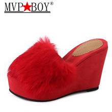Mvp Boy Beach Fur Slippers 2018 Wedges Slides Casual Platform Shoes Woman 11 cm high heel Winter Warm Outside Slip On Creepers hee grand solid platform slides 2018 slip on wedges beach summer casual shoes woman fashion creepers slippers 3 colors xwt1057