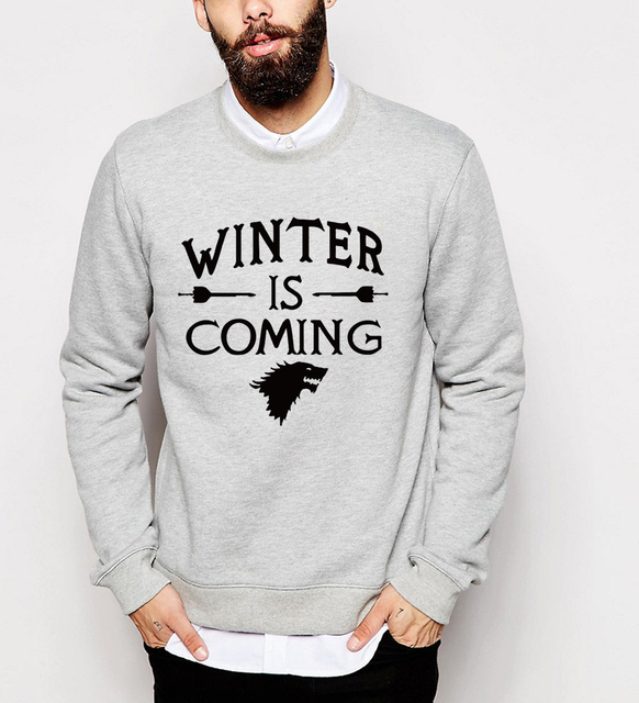 Game of Thrones casual aptidão homens carta impressão hoodies camisolas de Inverno Está Chegando 2017 inverno lã outono hip hop treino