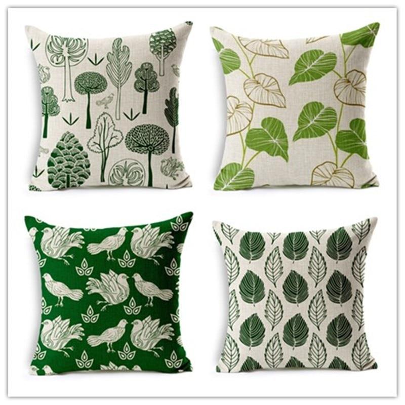 Új design trópusi levelek zöld fa dekoráció párnahuzat vászon - Lakástextil