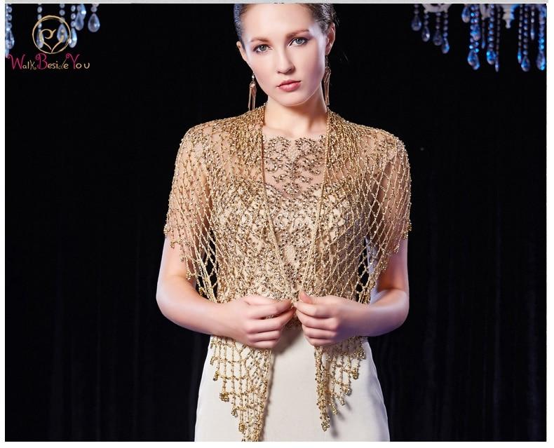 Walk Beside You Gold Wedding Cape Bolero Women Beaded Luxury Formal Party Wraps mariage Crystal Evening Shrug Jacket 2020